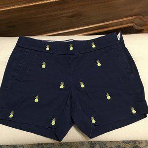 J Crew Pineapple Navy Blue Shorts